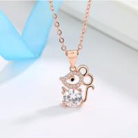 印琴S925纯银鼠年吊坠 生肖时尚锆石锁骨链