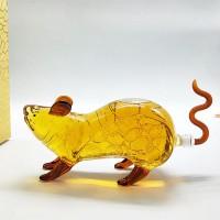 动物造型老鼠玻璃酒瓶源头厂家