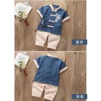 淘努猪男童宝宝汉服复古中国风儿童唐装短袖棉麻套装