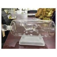 空心内置老虎造型玻璃白酒瓶吹制动物虎形玻璃威士忌酒瓶